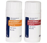 PrandiMet stimulates release of insulin, improves insulin sensitivity, and decreases gluconeogenesis