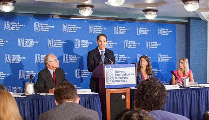 Dr. William Schaffner, Dr. Tom Frieden, Dr. Kathleen Neuzil, and Dr. Wendy Sue Swanson at the NFID news conference. Photo courtesy of the National Foundation for Infectious Diseases.