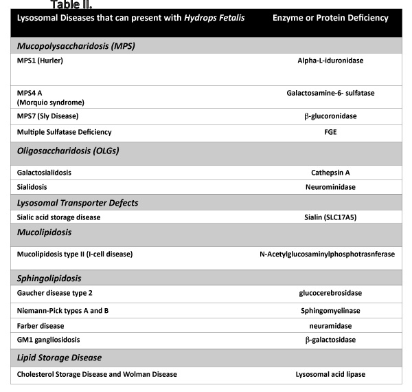 Lysosomal Diseases That Can Present With Hydrops Fetalis