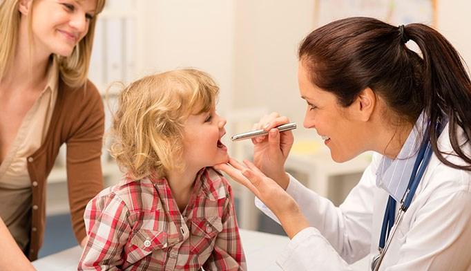 Auscultating a young patient